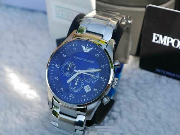 9af2808551c Emporio Armani AR5860 Men Watch Stainless Steel Blue Dial Chronograph for  sale online