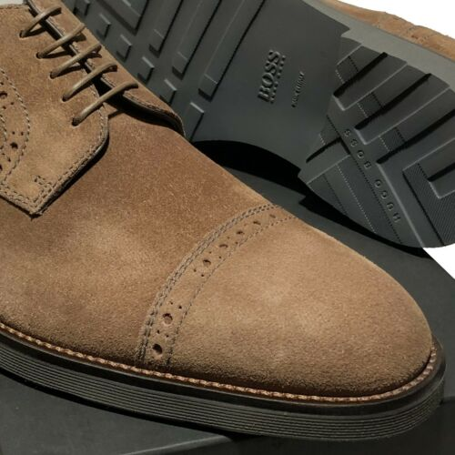 Hugo Boss ITALY Tokemi Brown Suede Leather Oxford Men/'s Dress Shoes Casual Beige