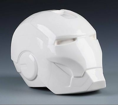 New Fine OGRM White chinaware china 1:1 Iron Man Head Piggy Bank Decoration OD70