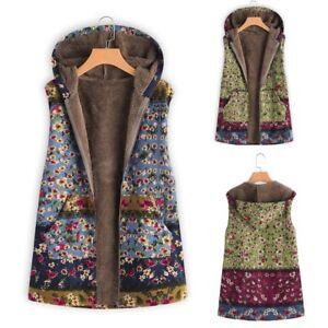 Women-Ladies-Winter-Warm-Outwear-Pockets-Floral-Print-Hooded-Oversize-Coat-Vest