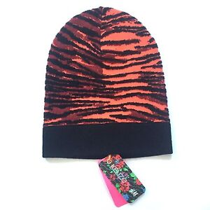 NWT Kenzo H M Jungle Men s Orange Tiger Zebra Knit Wool Beanie Hat ... 6baa74d3131