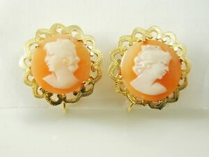 CAMEO-EARRINGS-VINTAGE-9CT-GOLD-SCREW-BACK-STUDS-DATED-1962-3-8-GRM-cit