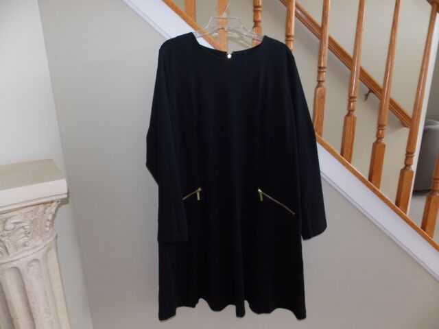 c4a76d923f Michael Kors Plus Size Dress 18 Long Sleeve Shift Black for sale ...