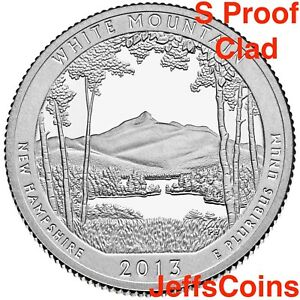 2013-S-Mint-Proof-White-Mountain-NATIONAL-STATE-PARK-QUARTER-Clad-Cameo-From-Set