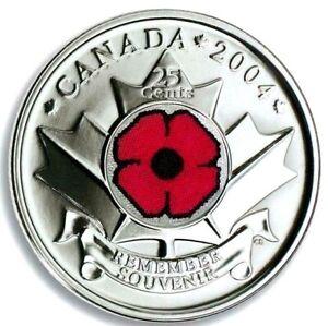 Canada-2004P-Remembrance-Day-Poppy-25-Cents-Gem-BU-UNC-Quarter