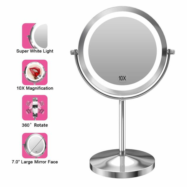 Gospire 10x Magnified Lighted Makeup Mirror Double Sided Round Magnifying Vanity For Sale Online Ebay