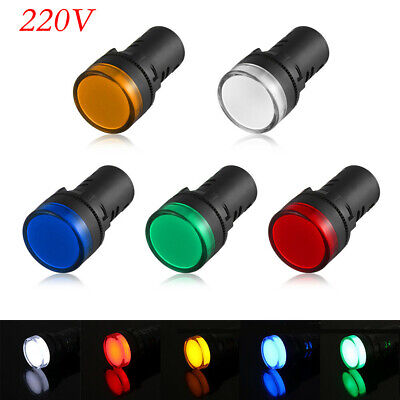 22mm LED Car Boat Indicator Pilot Dash Dashboard Panel Warning Light Lamp220V