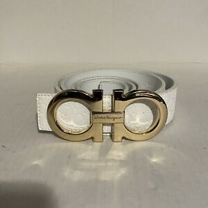 Mens White and Gold Ferragamo Belt | eBay