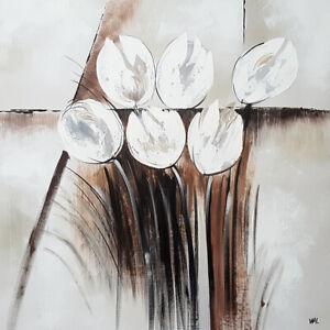 Détails Sur Tableau Fleur Peinture Originale Tableau Moderne Art Abstrait Déco Mur Châssis