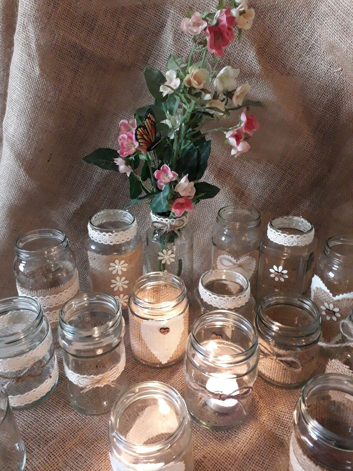 36 Rustic wedding Table centrepieces  set for 12 Tables for flowers Tea lights