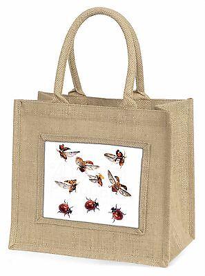 Fliegend Marienkäfer Große Natürliche Jute-einkaufstasche Weihnachten , ILB-2BLN