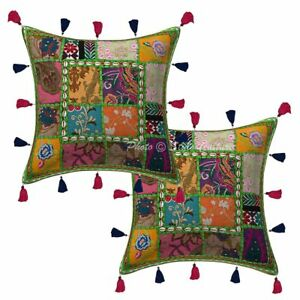 Cotton-Rural-India-Patchwork-Kodi-Tassels-Pillow-Cases-16-034-Indian-Cushion-Cover