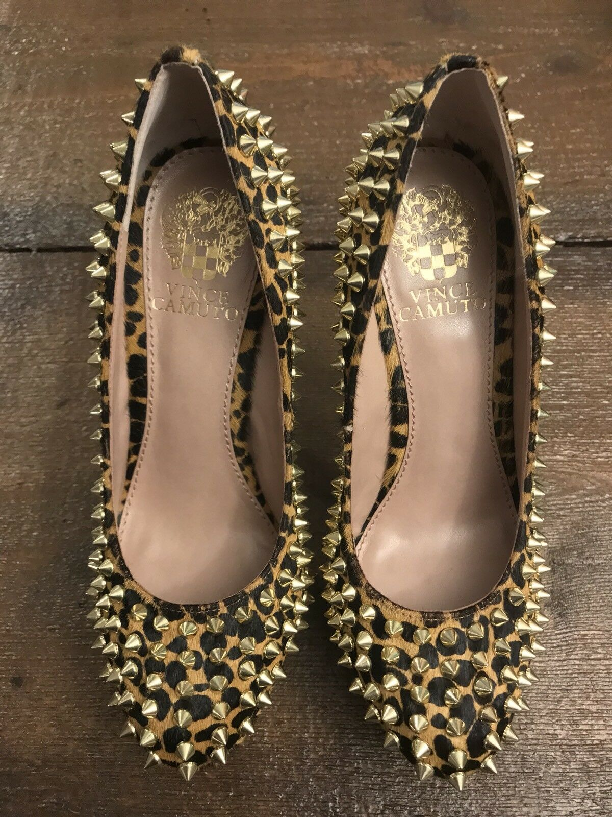 Vince Camuto Spotted Brown Cheetah Pony Pony Pony Women's Size 6 golden Spikes c9c3af