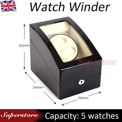 Luxury Black Dual wood Automatic Watch Winder Display Box 2 + 3 Leather storage