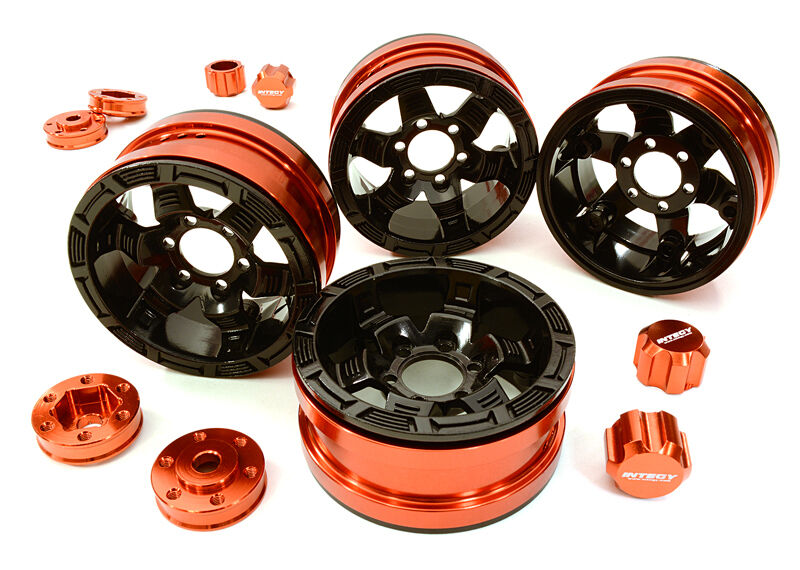 C26877rosso Integy Billet 6 Spoke Wheels w 6 Bolt S-Adapters for Most 1.9 Crawler