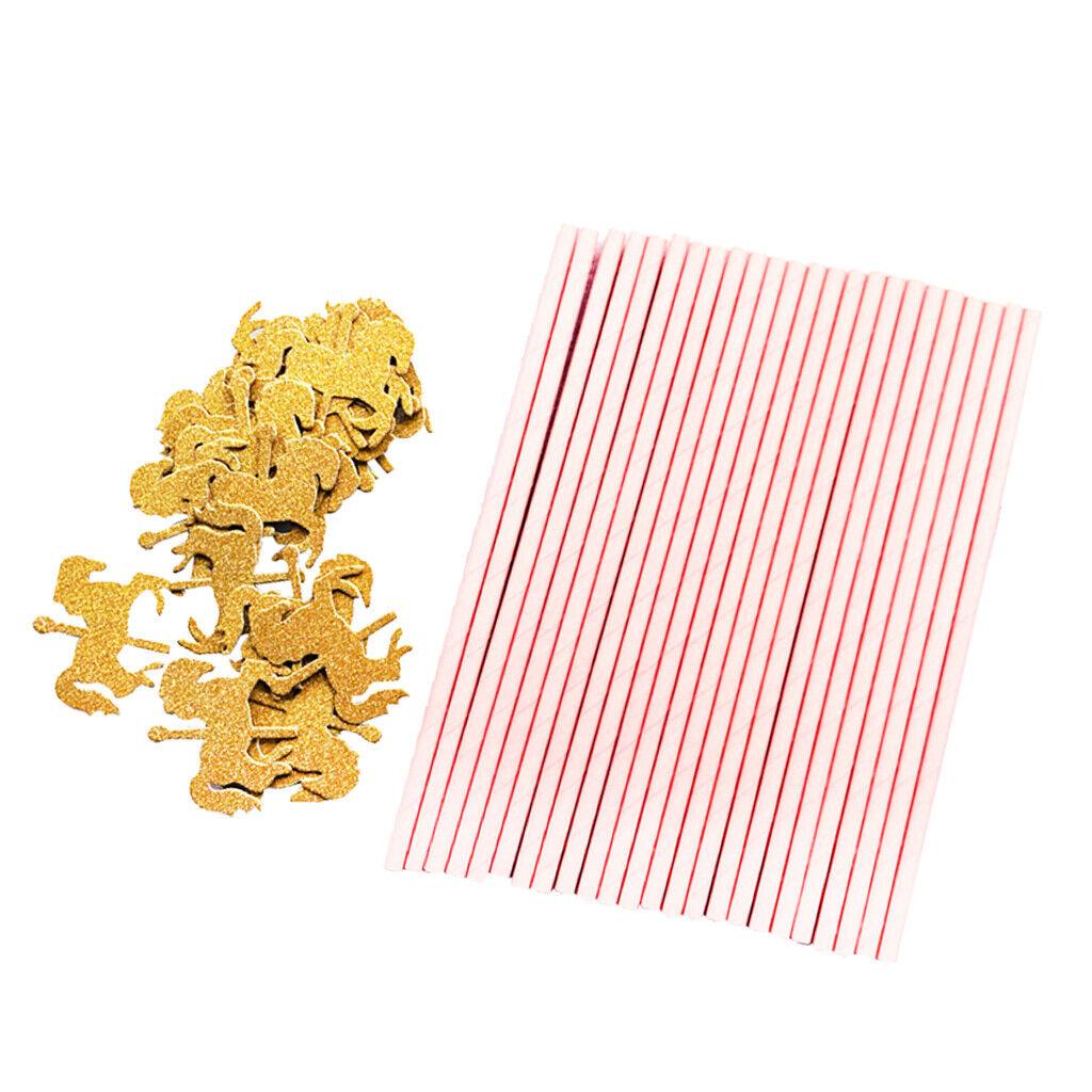 25x Glitter Gold Gold Pferd Papier Strohhalme Einweg Für Kinder Geburtstag