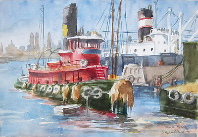 "REGINALD MARSH Signed 1938 Original Watercolor - ""Red Tug - Weehawken, N.J."""