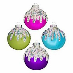 image is loading new glass colorful iced candy christmas ornaments set