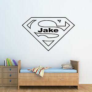 MéThodique Personnalisé Dc Superman Logo & Tout Nom! - Wall Art Autocollant Garçons Chambre Decal-afficher Le Titre D'origine