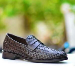 Dress-Shoes-Brown-Penny-Handmade-Men-Woven-Casual-Calf-Leather