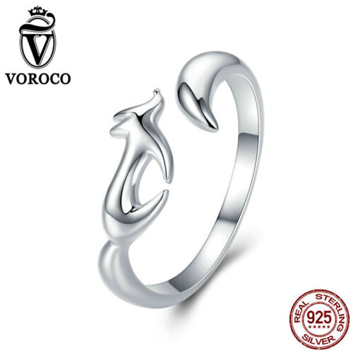 Voroco 925 Sterling Silver Fox Ring Charm For Beauty Women Bracelet Necklace