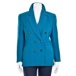 Escada-Margaretha-Ley-Teal-Wool-Cashmere-Double-Breasted-Jacket-Blazer-sz-42-12