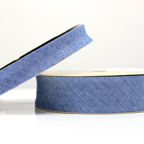 Chambray Denim Bias Binding 18mm Cotton Fabric Trim Edging Medium Blue 18