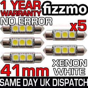 5x-41mm-3-SMD-LED-264-C5W-CANBUS-NO-ERROR-FREE-WHITE-INTERIOR-LIGHT-FESTOON-BULB