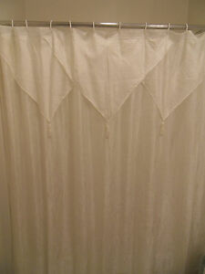 Image Is Loading Elegant Beige Shower Curtain Tailored Panel W Attached