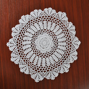 White-Vintage-Hand-Crochet-Lace-Doily-Round-Place-Mat-Pattern-15inch-Wedding