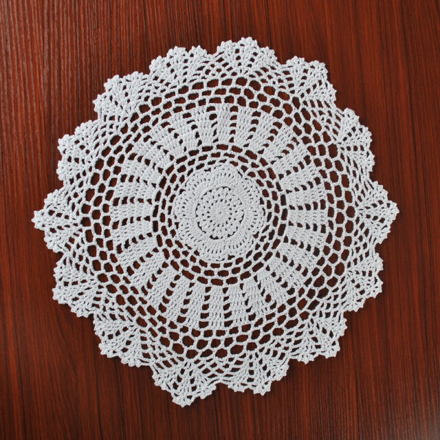White Vintage Hand Crochet Lace Doily Round Place Mat Pattern 15inch Wedding