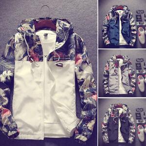 Men-039-s-Camo-Windbreaker-Thin-Hooded-Jacket-Sport-Casual-Loose-Coat-Top-Fashion