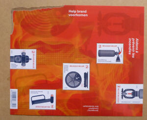 2017-BELGIUM-SAVED-FROM-FLAMES-5-STAMP-MINI-SHEET-MINT