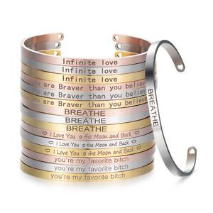 Stainless-Steel-Bangle-Engraved-Inspirational-Bracelet-4mm-Cuff-Bangle-Gift-SL08
