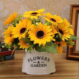 1-Bouquet-7-Gefaelschte-Sonnenblume-Kuenstliche-Seide-Familienzimmer-Blumen-0T0