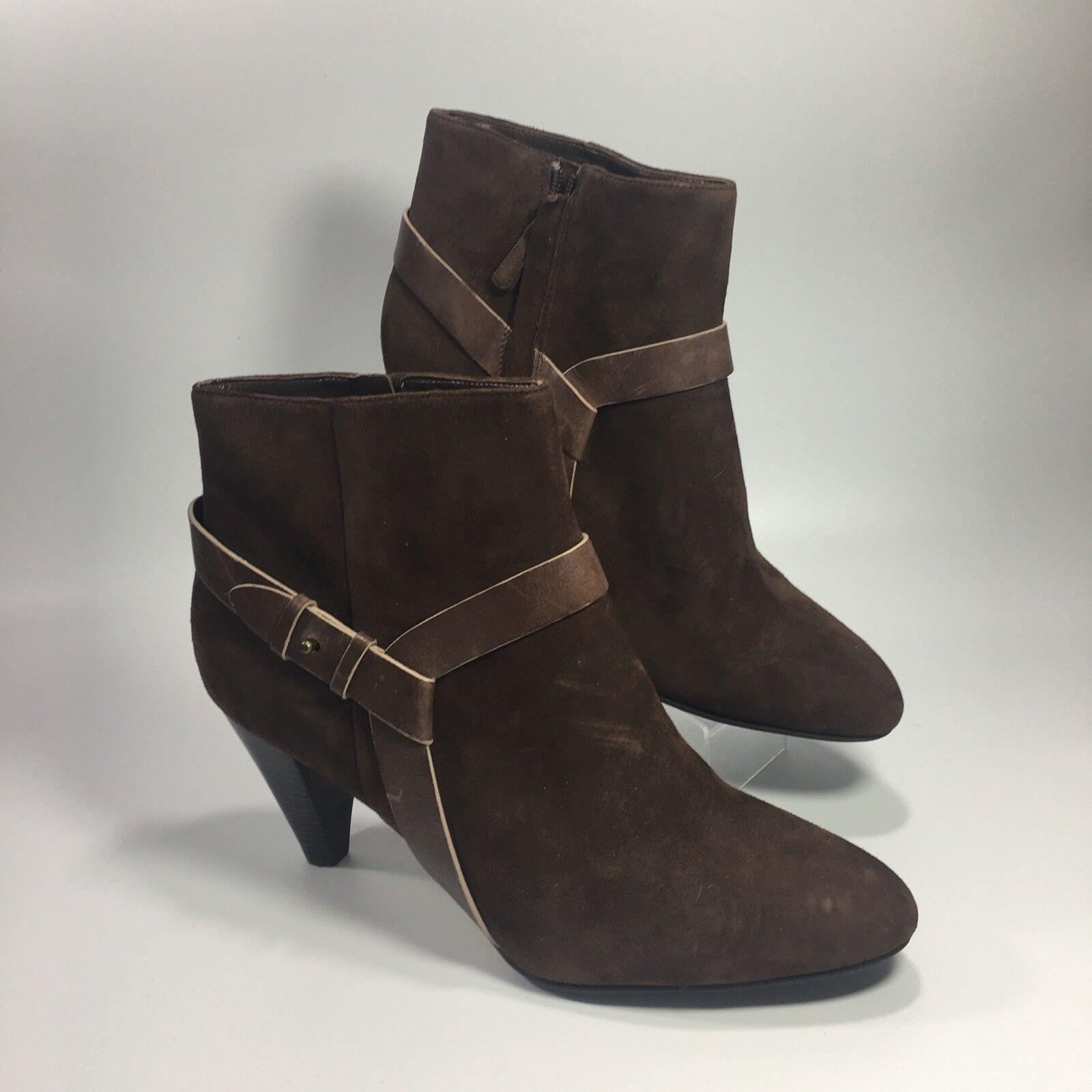 NEU Cole Haan Damens's Braun Suede Leder Heel Ankle Booties Stiefel Sz 10.5 B