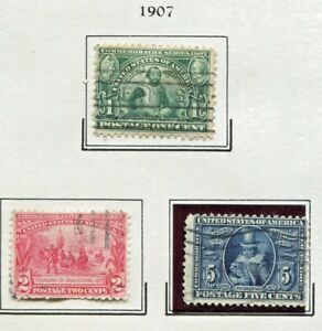 BEAUTIFUL-HISTORICAL-1907-JAMESTOWN-COMMEMORATIVE-STAMPS-1-2-AND-5-CENTS