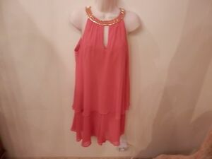 NWT-Orig-148-Women-039-s-Layered-Dress-in-Beautiful-Coral-by-Vince-Camuto-Size-8