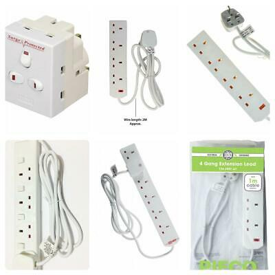 Pifco Electrical 4 Way Socket Gang 13A Mains Plug 1 2 5 10 Meter Extension Cable