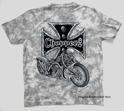 T Shirt Batik grau Vintage HD Biker Chopper/&Old Schoolmotiv Modell Lucky 7