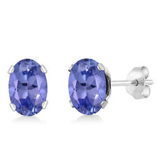 1.00 Ct Oval Tanzanite 925 Sterling Silver Stud Earrings 6X4mm