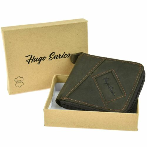 Hugo Enrico Mens Zip Wallet Bifold Genuine Leather Coin Note Credit Card Gift