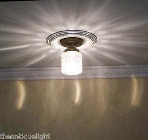 383 vintage 30s 40s ceiling light glass lamp fixture porch 1 of 6 ebay