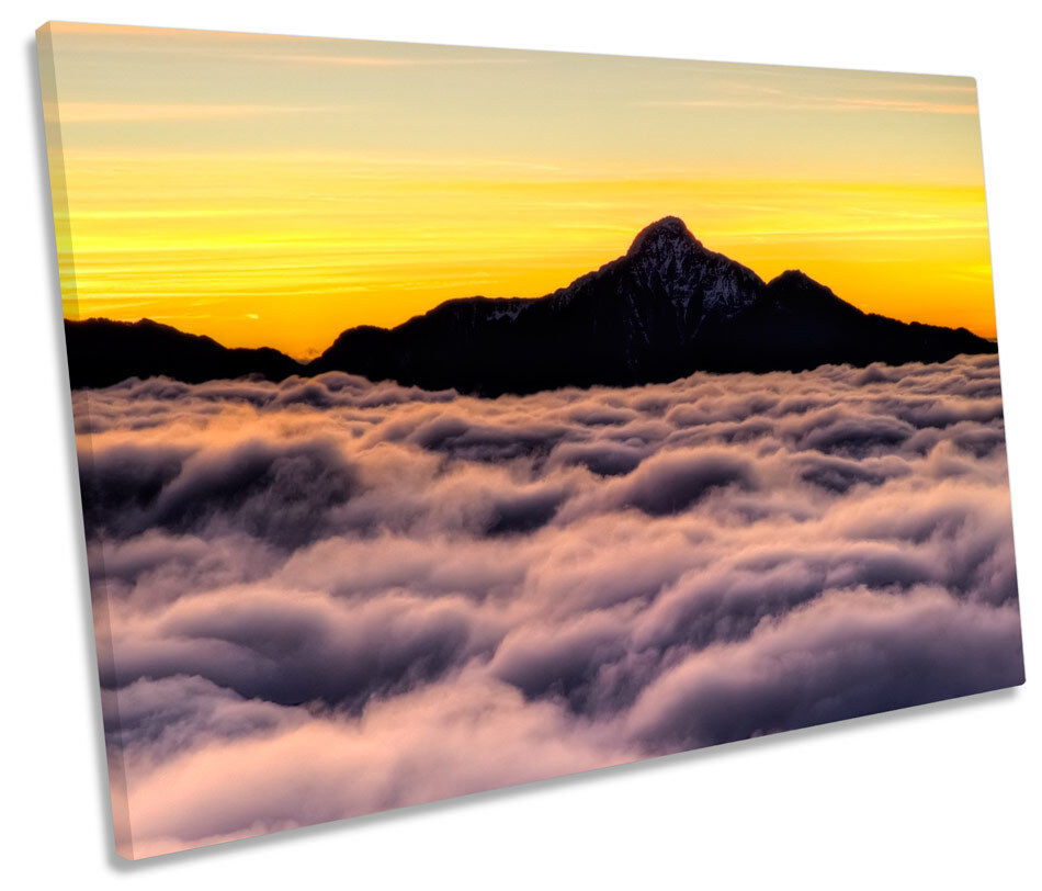 Clouds Mountain Sky Sunset CANVAS WALL ART SINGLE Picture Print