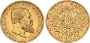 Württemberg 10 Mark 1900 F Wilhelm II vz 62700