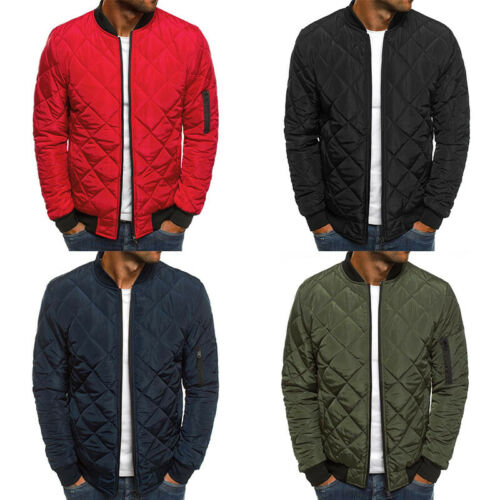 Mens Outwear Quilted Padded Puffer Jacket Tops Coat Bomber Winter Warm Casual