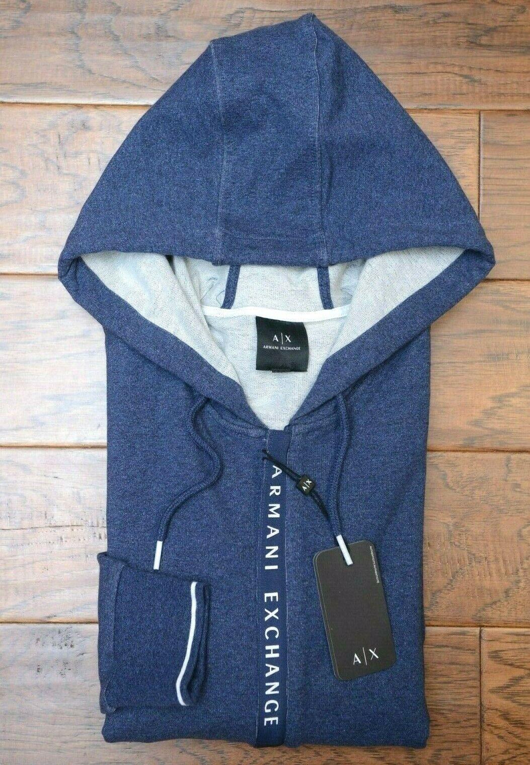 Armani Exchange A X Mens Full Zip DK Blue Stretch Cotton Hooded Jacket Hoodie XS