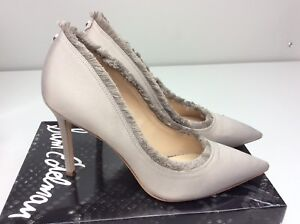 ce1882f1731e Sam Edelman Halan Satin Fringe Heels Size 10.5 Light Grey Satin ...