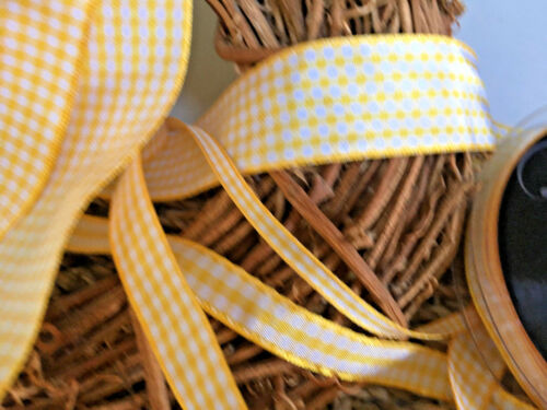 ~Bows Ribbon and Lace~ Berisfords Gingham Ribbon Shade 37 Gold- Choice of Widths