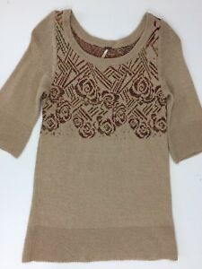 FREE-PEOPLE-Size-XS-Tunic-Sweater-3-4-Sleeves-Scoop-Neck-Taupe-Cotton-Wool-Blend